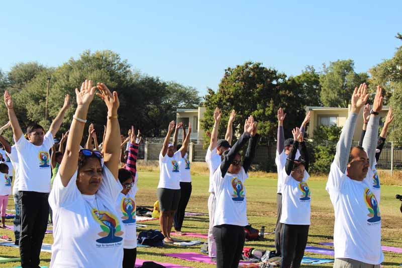 Yoga participants during the main event of International Day of Yoga