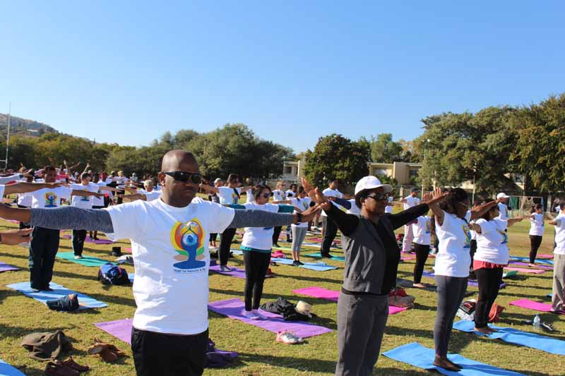Hon. Christine Hoebes, Namibian Dy Minister of International Relations  and Cooperation and His Worship Muesee Kazapua, Mayor of the City of Windhoek  during  the main event of International Day of Yoga on June 23, 2018