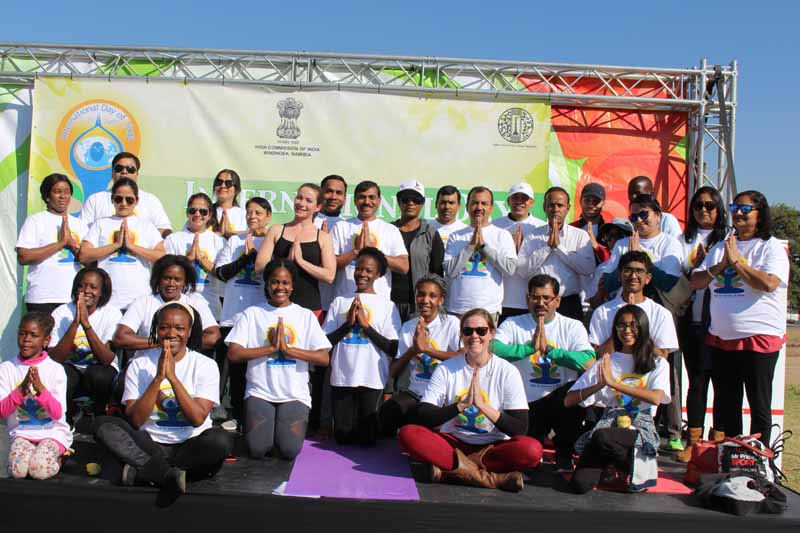 Group picture of Yoga participants after the main event of International Day of Yoga on June  23 2018