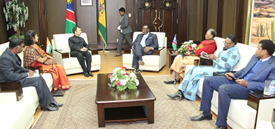 <p>High Commissioner Shri Kumar Tuhin (third from left) being recieved by the President of Namibia Hon. Mr. Hage Geingob( fourth from right) after presentation of credentials on 29 July 2015 to the Government of Namibia upon assuming charge as High Commissioner of India to Namibia.&nbsp;</p>