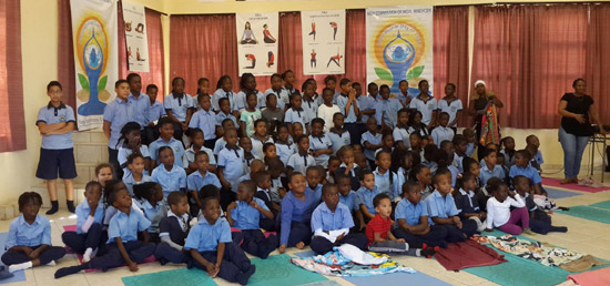 <p>Celebrating 3rd International Day of Yoga on 21 June 2017 with Namibian Students of Dorado School, Windhoek</p>