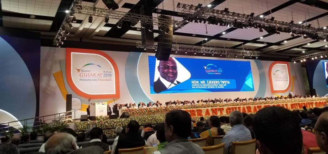 <p>Minister of Industrialisation, Trade and SME Development, Hon. Tjekero Tweya's participation in Vibrant Gujarat Global Summit presided over by Hon'ble Prime Minister of India Narendra Modi and thousands of international and Indian delegates</p>