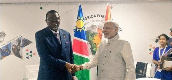 <p>Shri Narendra Modi, Hon. Prime Minister of India hosted the India Africa Forum Summit - III 2015 in New Delhi from 26-29 October 2015 and had a Bilateral meeting with H.E. Dr. Hage G. Geingob, President of the Republic of Namibia, during the India-Africa Forum Summit in New Delhi on October 29, 2015.</p>