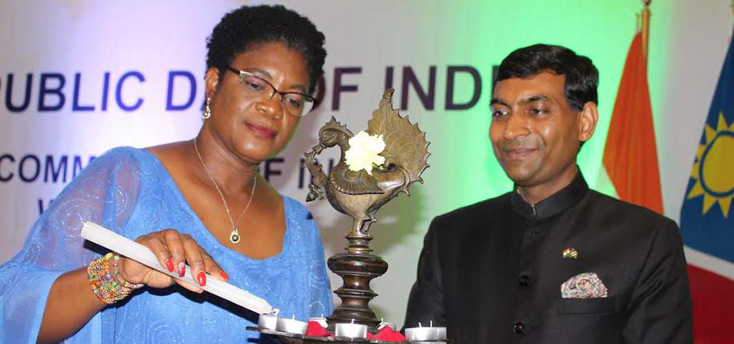 <p>Hon. Christine// Hoebes, Deputy Minister of Ministry of International Relations & Cooperation lighting the lamp with High Commissioner on the occasion of 70th Republic Day of India</p>