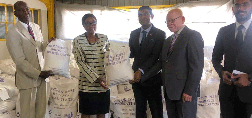 <p>Handing over of 1000 metric Tons of Rice to Prime Minister of Republic of Namibia</p>