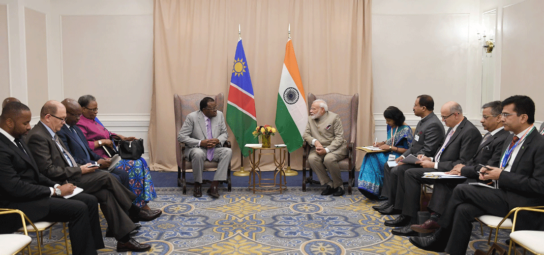 <p>Prime Minister Narendra Modi meets the President of the Republic of Namibia, Dr. Hage G. Geingob, on the sidelines of the United Nations (UN) session, in New York, USA on September 23, 2019</p>