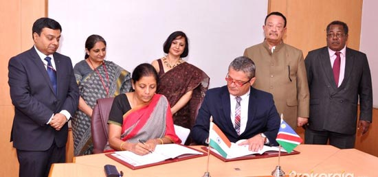 <p>Third Session of the India-Namibia Joint Trade Committee was held on 7th September, 2016 in New Delhi. The Indian delegation was led by Hon&rsquo;ble Minister for State for Commerce and Industry (Independent Charge) Ms Nirmala Sitharaman. The Namibian delegation was led by the Hon&rsquo;ble Deputy Minister, Ministry of Industrialization, Trade and SME Development, Mr Piet Van der Walt</p>