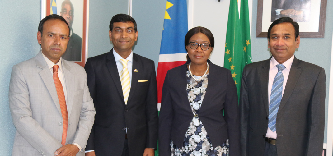 <p>High Commissioner along with officers of the High Commission calls on the Prime Minister of the Republic of Namibia</p>